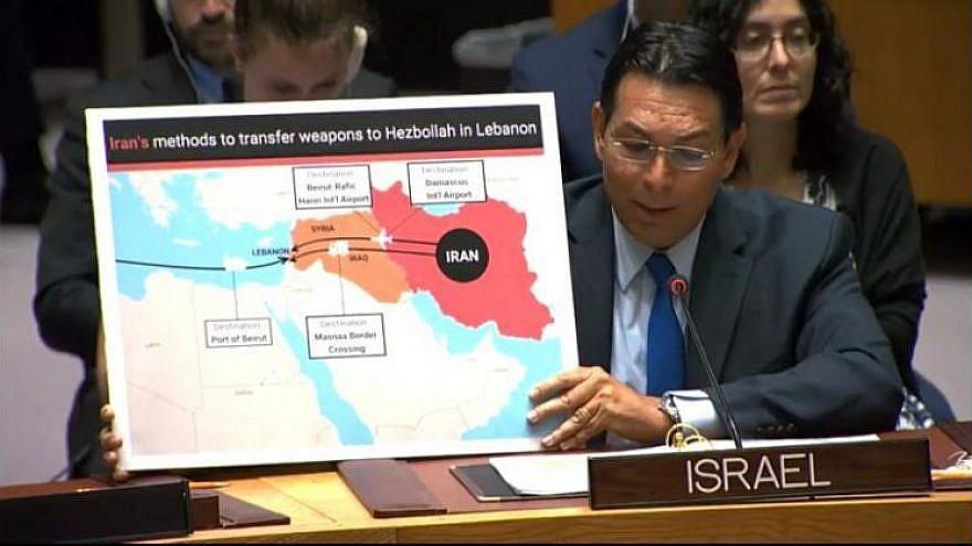 Israeli Ambassador to the United Nations Danny Danon shows a map marking some of the routes used by Iran to arm the Lebanese terrorist group Hezbollah, at U.N. headquarters in New York on July 23, 2019. Photo: Israeli Mission to the United Nations.