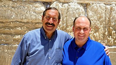 Dr. Joe Frager (left), vice president of the National Council of Young Israel, with New York State Republican Committee chair Nicholas (Nick) Langworthy at the Western Wall in Jerusalem, July 2019. Credit: National Council of Young Israel.