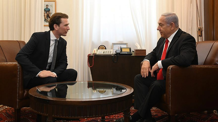 Sebastian Kurz, who was reelected as Austria's Prime Minister in Jan. 2020, at a meeting with Israeli Prime Minister Benjamin Netanyahu in Jerusalem on July 10, 2019. Credit: Kobi Gideon/GPO.