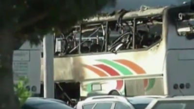 Wreckage of the 2012 bombing of a bus in Burgas, Bulgaria, that killed five Israelis. Credit: Screenshot.