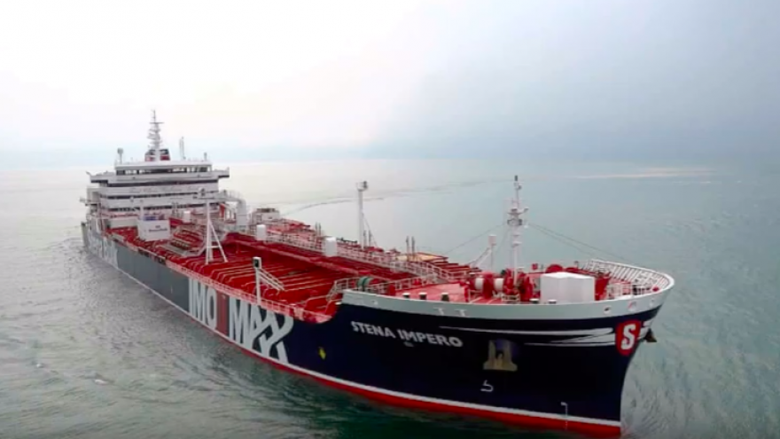 "The British vessel ""Stena Impero"" was seized by Iran's Islamic Revolutionary Guard Corps on July 19, 2019. Credit: Screenshot."