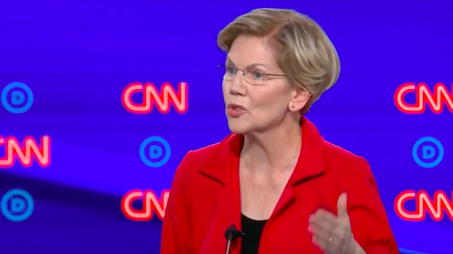 U.S. Sen. Elizabeth Warren (D-Mass.) at the second Democratic presidential debate in Detroit on July 30, 2019. Credit: Screnshot.