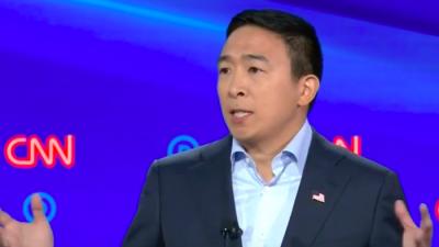 Entrepreneur and 2020 Democratic presidential candidate Andrew Yang at the second Democratic presidential debate in Detroit on July 31, 2019. Credit: Screenshot.