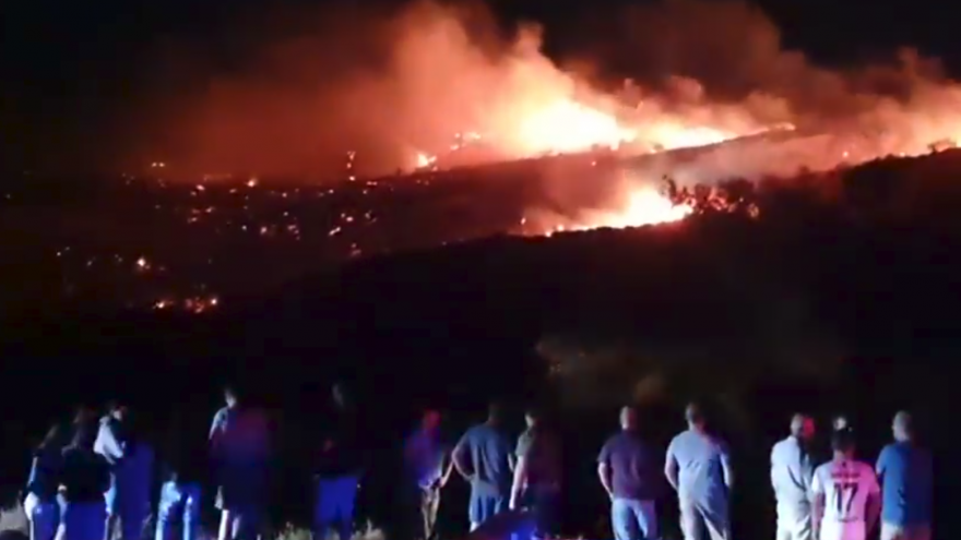 People gather in the aftermath of a mysterious explosion in northern Cyprus that early theories state may be connected to Israeli airstrikes in Syria, July 1, 2019. Source: Screenshot.