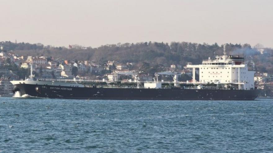 "The British oil tanker ""British Heritage."" Source: Screenshot, vesselfinder.com."