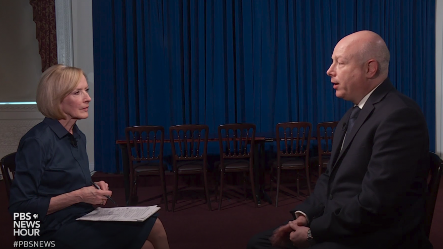 "U.S. Middle East peace envoy Jason Greenblatt, in an interview with Judy Woodruff on ""PBS NewsHour,"" broadcast on July 17, 2019. Source: Screenshot."