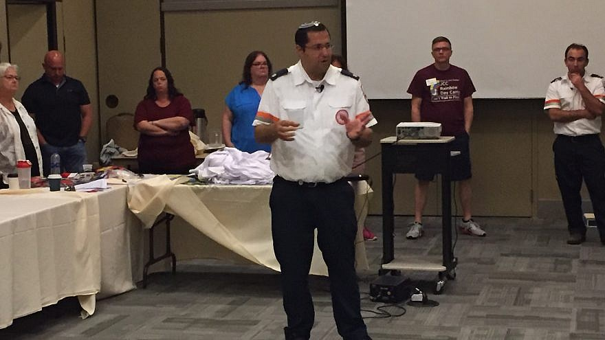 """First 7 Minutes"" training was led by Magen David Adom senior paramedic Raphael Herbst, who has responded to numerous terror attacks in Israel. Credit: MDA."