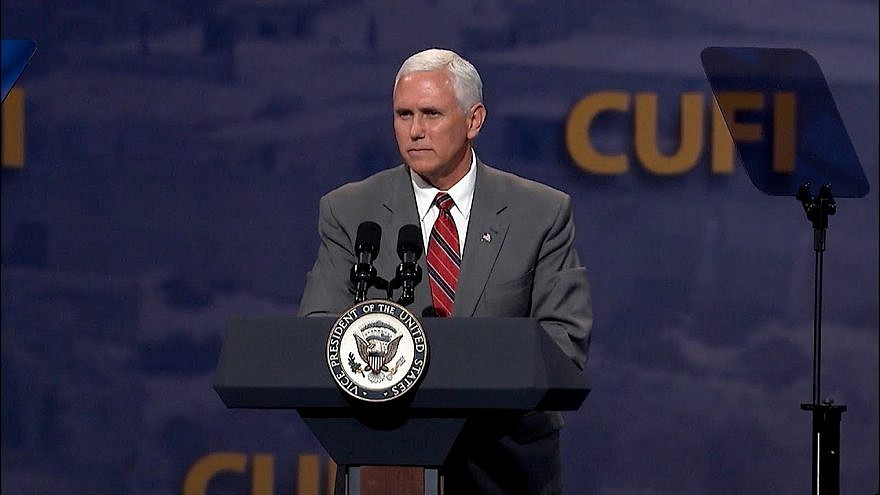 U.S. Vice President Mike Pence addresses attendees at the annual CUFI conference, July 8, 2019. Credit: CUFI.