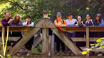 """""""UnCamp,"""" a summer program for teenage Jewish girls from different backgrounds—from the unaffiliated to Shabbat-observant—encourages personal growth, reflection, discussion and friendship, July 2019. Credit: Courtesy."""