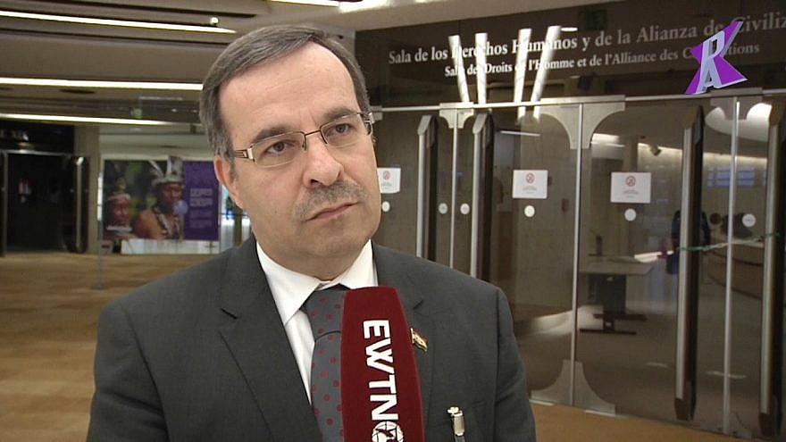 Syrian U.N. envoy Hussam Edin Aala. Source: Screenshot.