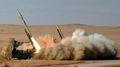 "Illustrative: Fateh-110 ballistic missiles being fired as part of Iran's ""Great Prophet 7"" military exercise in July 2012. Credit: Hossein Velayati via Wikimedia Commons."