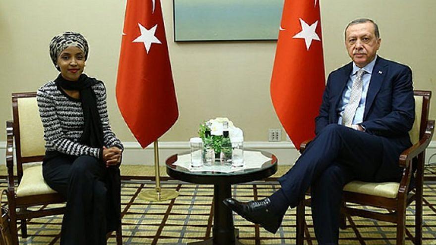 U.S. Rep. Ilhan Omar (D-Minn.) meets with Turkish President Recep Tayyip Erdoğan during the 2017 U.N. General Assembly. (MEMRI)