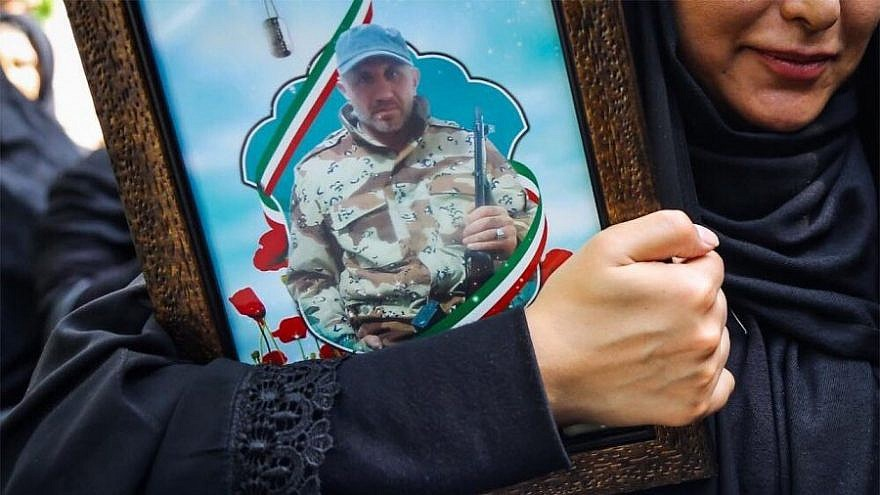 A photograph of Iranian Islamic Revolutionary Guard Corps officer Abu Alfazl Sarabian is displayed at a funeral service in Tehran before Sarabian's body was returned for burial in his hometown of Kermanshah. (Iranian press)
