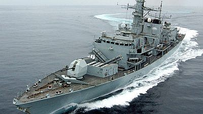 """""""HMS Montrose,"""" a Royal Navy Frigate, performs a tight turn during the Marstrike 05 series of exercises on March 22, 2005. Credit: Mick Storey via Wikimedia Commons."""