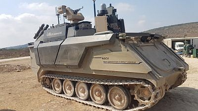 Israel Aerospace Industries's prototype of the Carmel autonomous armored vehicle, powered by artificial-intelligence technology. Photo by Yaakov Lappin.
