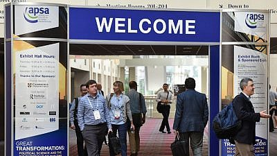 A banner welcoming people to the American Political Science Association's annual convention. At its 2019 meeting, a group of political theorists is expected to discuss a resolution to boycott Israeli academic institutions. Credit: APSA via Facebook.