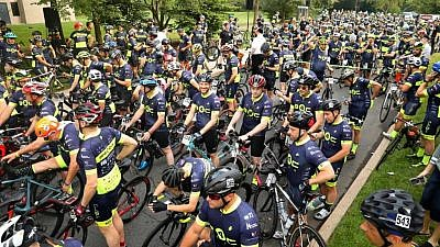 Over the course of two days, 575 men cycled 180 miles across three states as part the Bike4Chai an annual fundraiser to benefit Chai LifeLine, an organization dedicated to helping children with cancer and other life-altering illnesses, and their families, August 2019. Photo by Lenny Groysman.