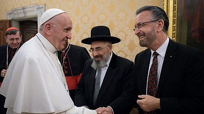 Rabbi David Rosen (far left) during a private audience with Pope Francis during the 16th Meeting of the Joint Commission of the Chief Rabbinate of Israel and the Holy See at the Vatican, November 2018. Credit: Courtesy.
