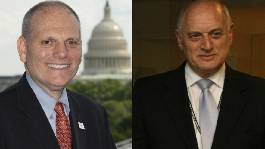 The Conference of Presidents of Major American Jewish Organizations selects William Daroff (left) as new CEO. He will replace Malcolm Hoenlein, who has served with conference since 1986. Photos courtesy of Jewish Federations of Greater Washington/Flash90.