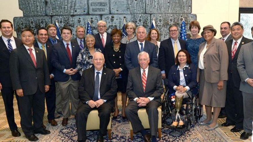 Democratic members of the U.S. House of Representatives in Israel with President Reuven Rivlin (seated, at left) next to House Majority Leader Steny Hoyer (D-Md.). Credit: Mark Neiman/GPO.
