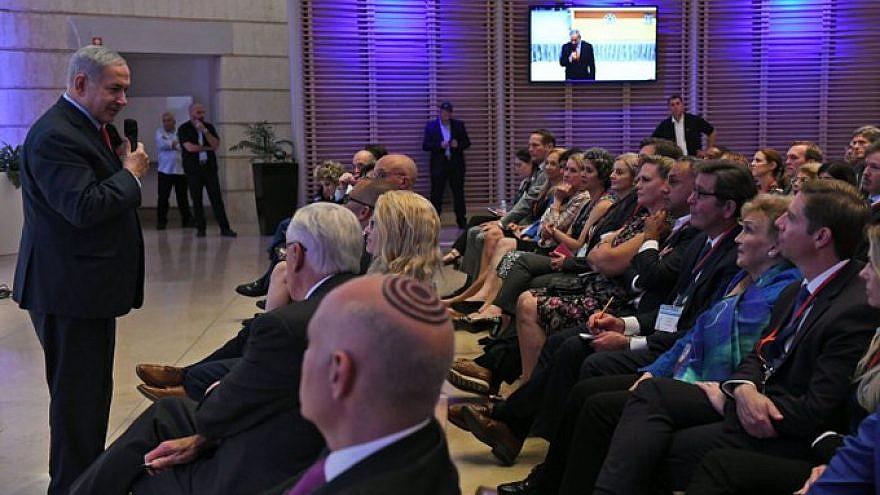 Israeli Prime Minister Benjamin Netanyahu addresses a delegation of 41 Democratic members of Congress in Jerusalem. Credit: AIPAC via Twitter.
