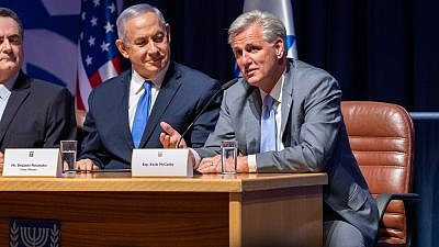 U.S. House of Representatives Minority Leader Kevin McCarthy (R-Calif.) sitting alongside Israeli Prime Minister Benjamin Netanyahu while visiting Israel this week, August 2019. Credit: Kevin McCarthy via Twitter.