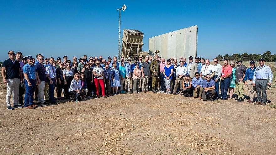 Over 70 Democrats and Republican members of Congress pose in front of Israel's Iron Dome battery while on tour together. Credit: Minority  Leader Kevin McCarthy via Twitter.