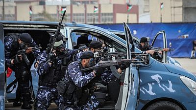Hamas police cadets take part in a graduation ceremony at the Arafat Police Headquarters in Gaza City, April 20, 2019. Photo Hassan Jedi/Flash90.