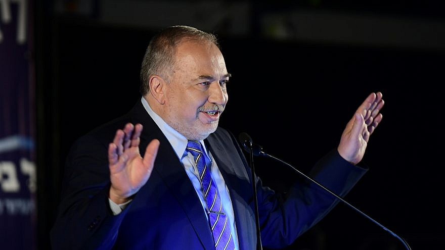 Israel Beiteinu chairman Avigdor Lieberman speaks during his party's election campaign conference in Tel Aviv, July 30, 2019. Photo by Tomer Neuberg/Flash90.