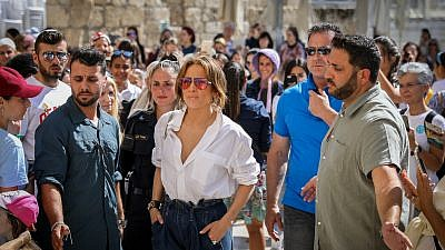 American actress and singer Jennifer Lopez visits at the Western Wall in the Old City of Jerusalem on Aug. 2, 2019. Photo by Noam Revkin Fenton/Flash90.