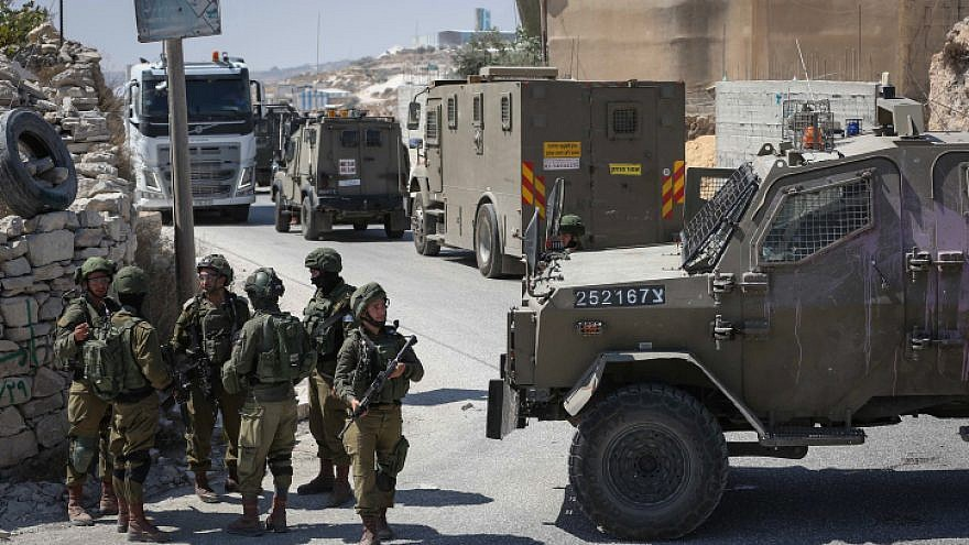 Israeli forces during a search operation in the town of Beit Fajjar, south of Bethlehem near Kibbutz Migdal Oz, where yeshivah student Dvir Sorek, 19, was found dead on Aug. 7, 2019. Photo by Wisam Hashlamoun/Flash90.