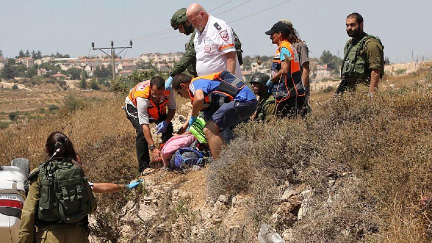 The scene of a terror attack near Elazar in Gush Etzion, Aug. 16, 2019. Photo by Gershon Elinson/Flash90.