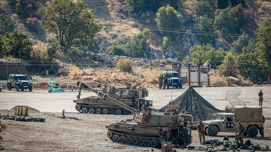 Israeli soldiers with their artillery unit seen near the Israeli-Syrian border, in the Golan Heights, northern Israel, on Aug. 25, 2019. Photo by Basel Awidat/Flash90.