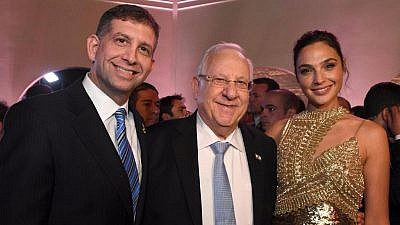 Keren Hayesod world chairman Sam Grundwerg (then Consul General to Los Angeles) with Israeli President Reuven Rivlin and actress Gal Gadot. Courtesy: Keren Hayesod.