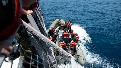"""""""Mighty Waves 2019,"""" a multinational naval drill that is based in the Haifa port. Source: IDF Spokesperson's Unit."""
