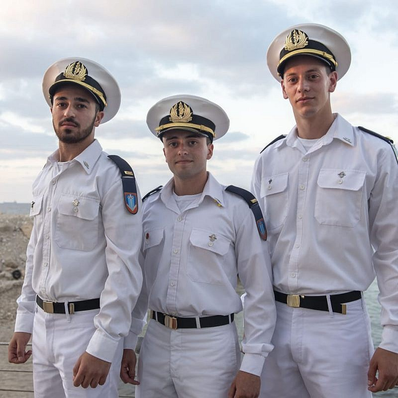 1st Lt. Carmel Ben Ami (center), Maritime control officer. Credit: IDF Spokesperson's Unit.