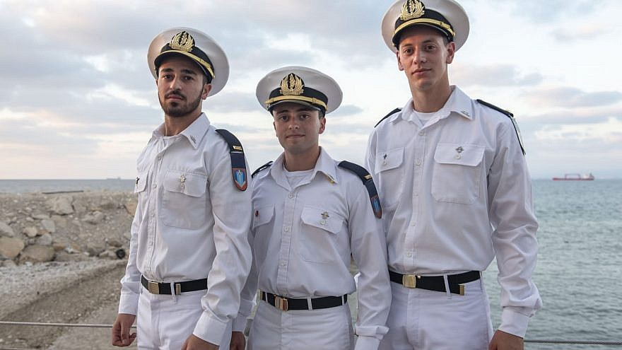 1st Lt. Carmel Ben Ami (center), Maritime control officer. Credit: IDF Spokesperson's Unit.