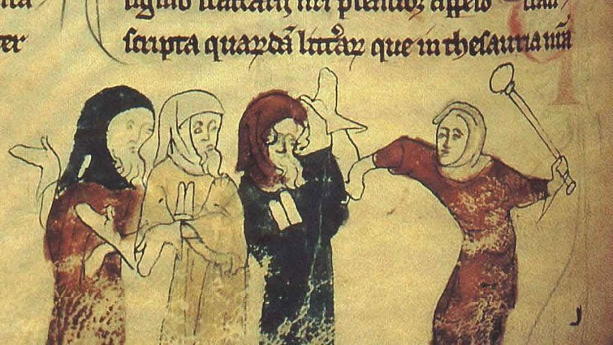 """Miniature showing the expulsion of Jews following the Edict of Expulsion by Edward I of England on July 18, 1290). The yellow badge that Jews were forced to wear can be seen in the illustration. Source: Scanned from """"Four Gothic Kings,"""" Elizabeth Hallam, ed. via Wikimedia Commons."""