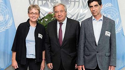 Leah and Simcha Goldin, the parents of Israeli soldier Hadar Goldin, with U.N. Secretary General António Guterres. Photo courtesy of Leah Goldin.