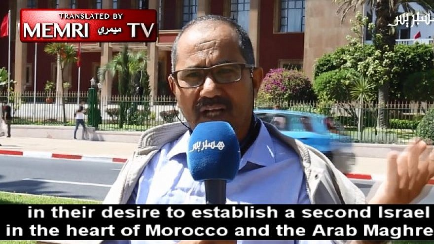 Ahmed Wihmane, president of the Moroccan Observatory Against Normalization with Israel, is seen during an interview with Hespress Internet TV (Morocco), Aug. 27, 2019. (MEMRI)