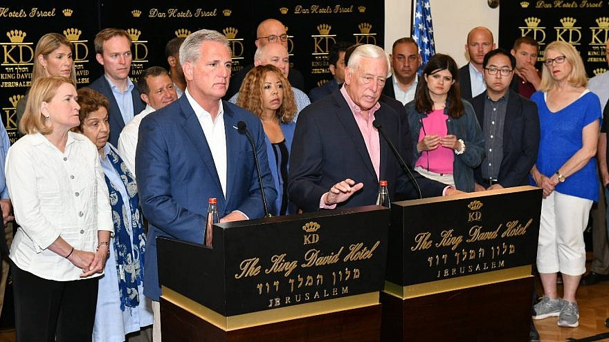 U.S. House Majority Leader Steny Hoyer and  Republican Leader Kevin McCarthy with a delegation of members of the U.S. House of Representatives at the King David Hotel in Jerusalem on Aug. 11, 2019. Photo by Israel Hadari/Courtesy of AIEF.