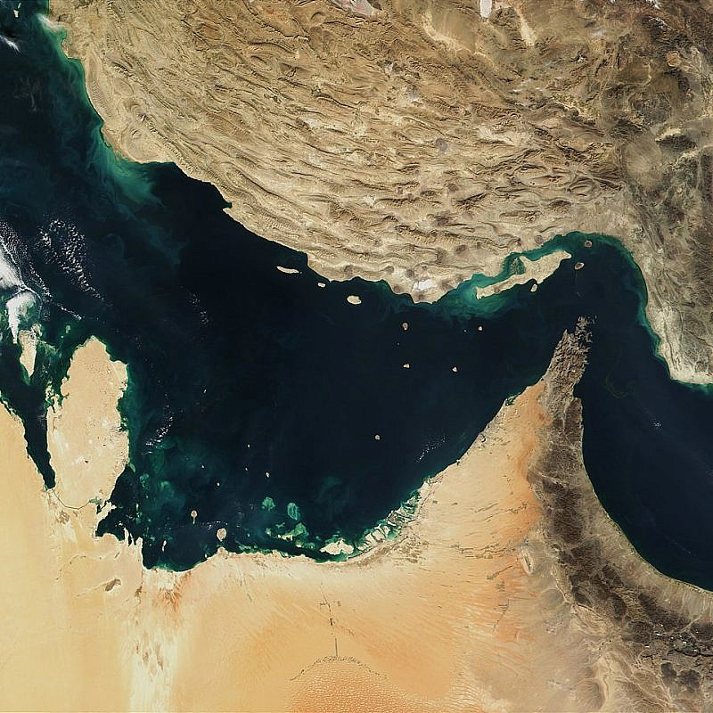 A satellite image of the Arabian Gulf, Strait of Hormuz and the Gulf of Oman, Dec. 30, 2001. Credit: NASA via Wikimedia Commons.