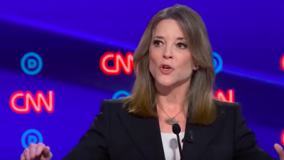 2020 Democratic presidential candidate Marianne Williamson at the second round of  Democratic presidential debates, this time in Detroit, on July 30, 2019. Credit: Screenshot.