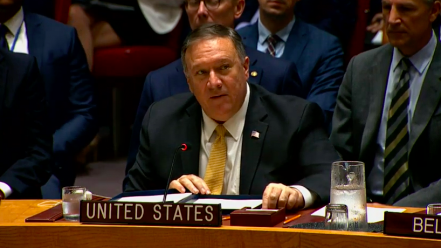 U.S. Secretary of State Mike Pompeo addresses the U.N. Security Council on Aug. 20, 2019. Credit: Screenshot.