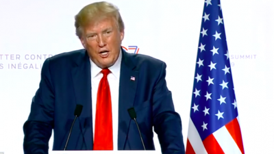 U.S. President Donald Trump takes questions at the Group of Seven (G7) meetings in Biarritz, France, on Aug. 26, 2019. Credit: Screenshot.