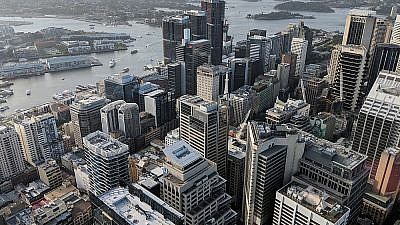 The northwestern portion of the central business district of Sydney from Sydney Tower. Credit: Wikimedia Commons.