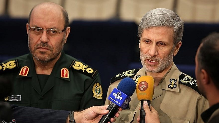 Iranian Defense Minister Gen. Amir Hatami (right) and his predecessor Gen. Hossein Dehghan, at a presentation ceremony in Tehran, Aug. 22, 2017. Credit: Tasnim News Agency via Wikimedia Commons.