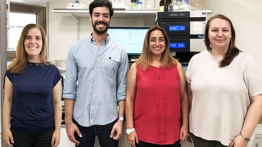 From left: At Tel Aviv University are Professor Helena Florindo; João Conniot; Professor Ronit Satchi-Fainaro; and Anna Scomparin. Photo by Galia Tiram.