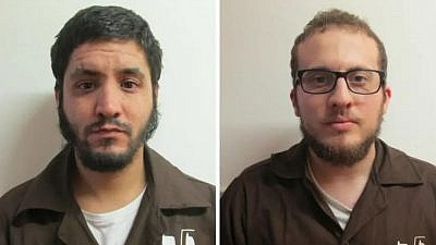 Amin Yassin, 22, and Ali al-Aroush, 28, were arrested on suspicion of planning an Islamic State-style terrorist attack in Israel, Israel's Shin Bet security agency announced on Aug. 22, 2019. Photo: Shin Bet security agency.