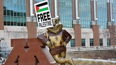 """A """"Free Palestine"""" sign on display with the University of Minnesota's gopher mascot that was erected by the school's Students for Justice in Palestine chapter. Credit: SJP via Facebook."""